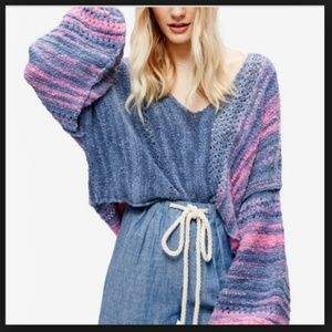 Free People Amethyst Cropped Dolman Sweater Small